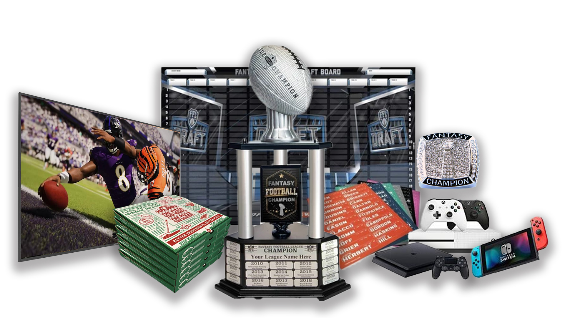 - FFDraft Trophy 3 White Pizza - Fantasy Football Draft Parties at 1Life2Play