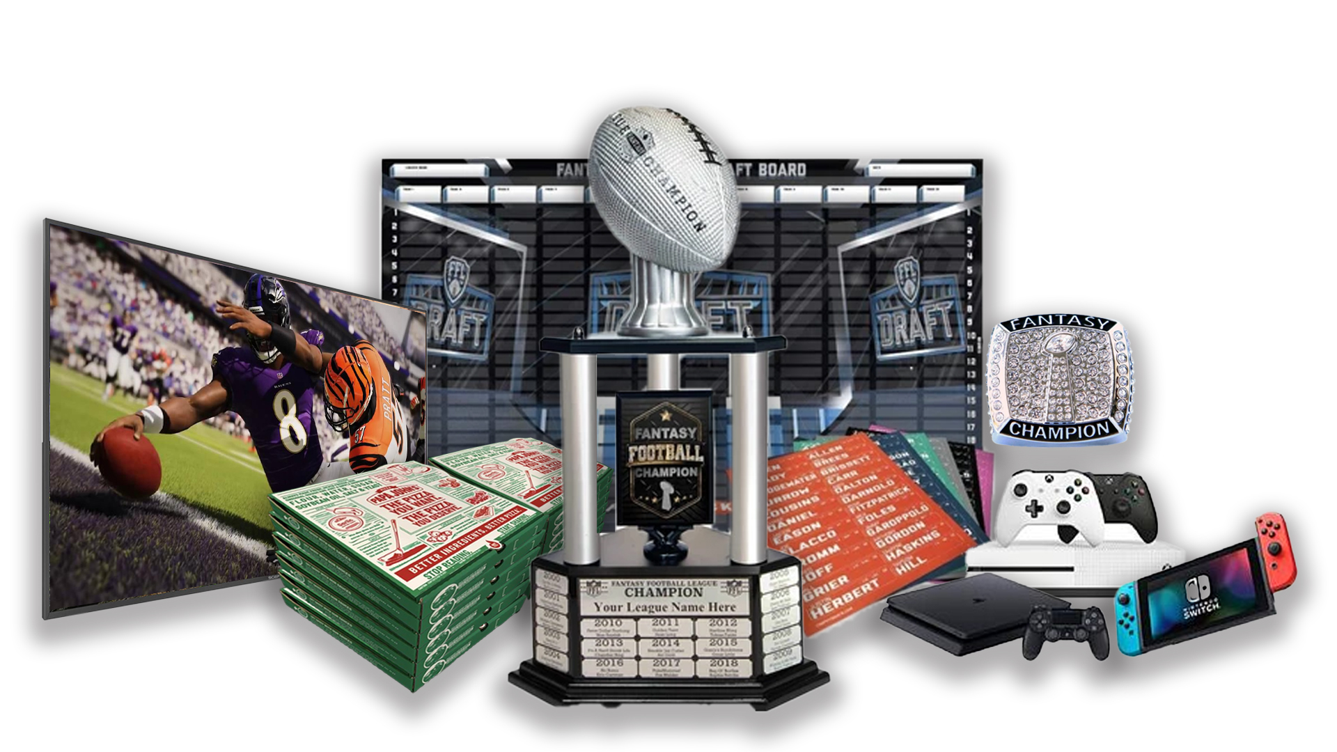 - FFDraft Trophy 3 White Pizza2 - Fantasy Football Draft Parties at 1Life2Play