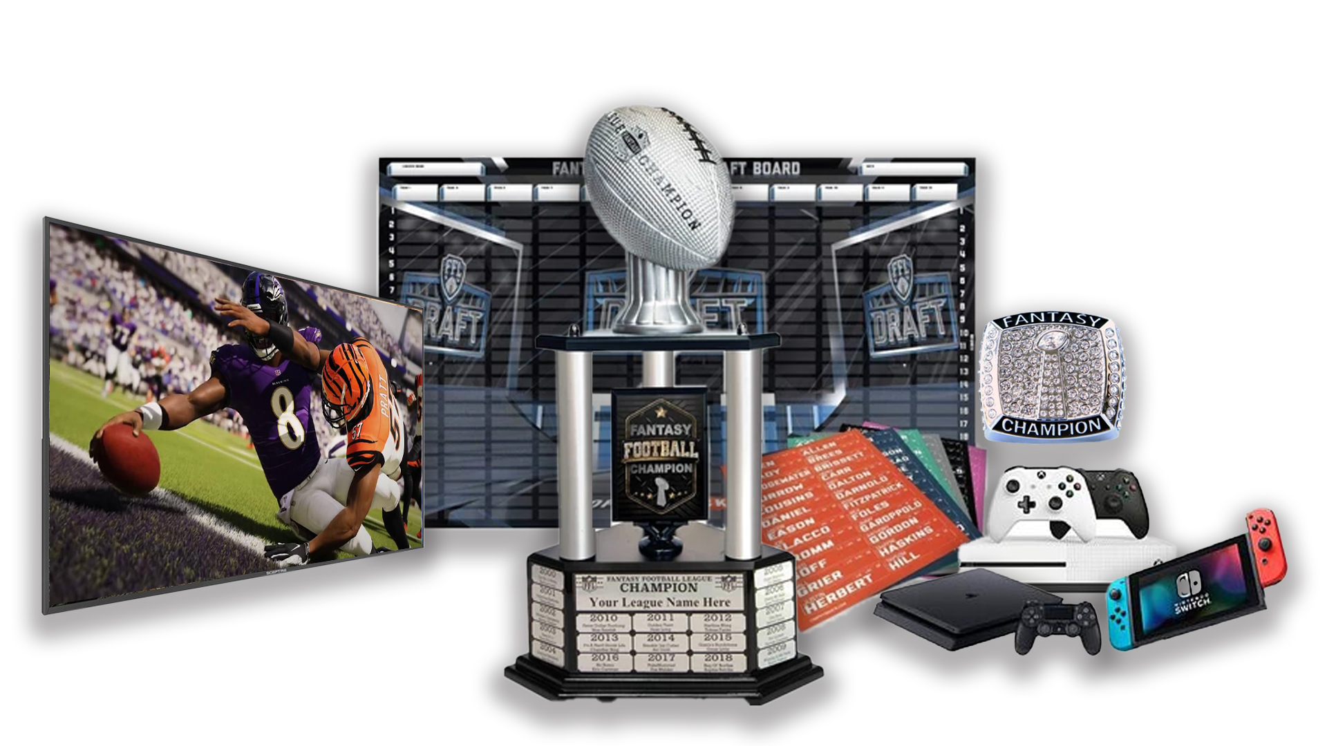 - FFDraft Trophy 3 White - Fantasy Football Draft Parties at 1Life2Play