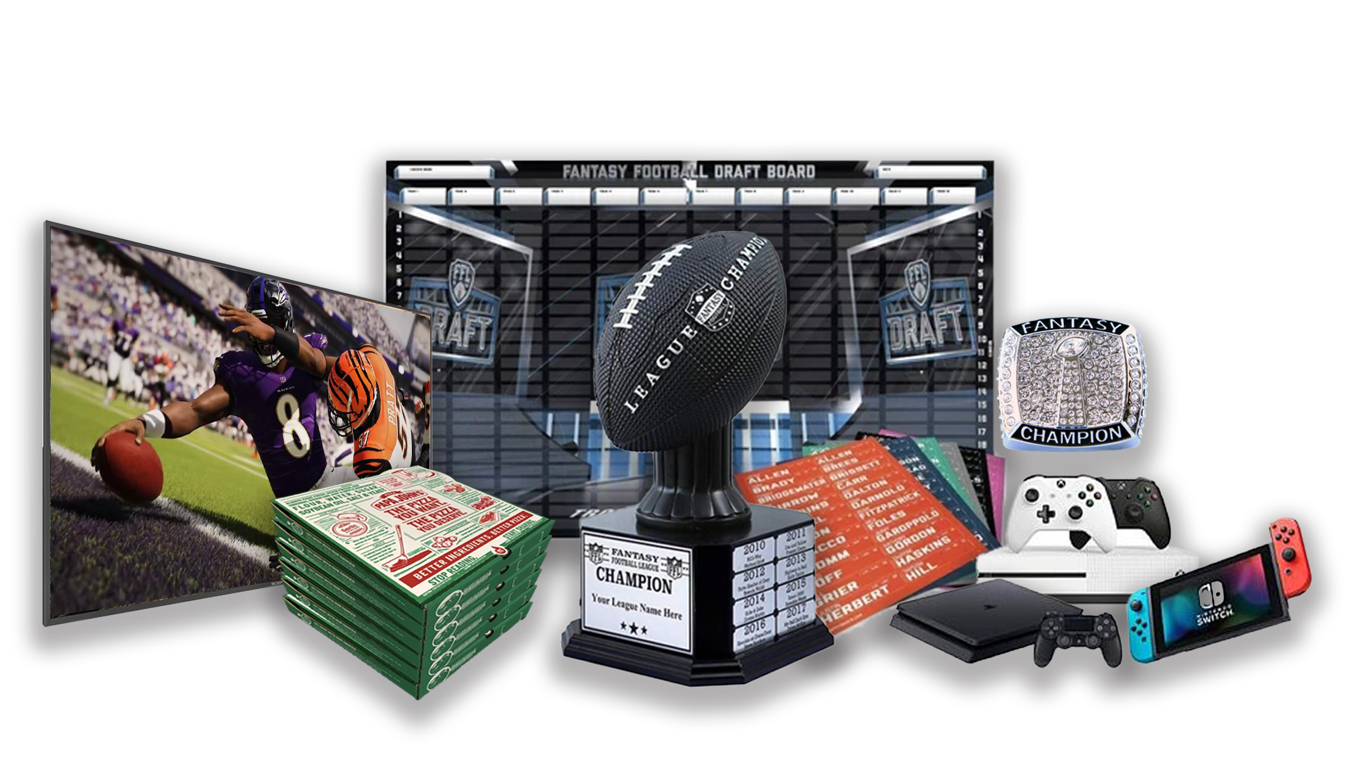 - FFDraft Trophy Black Pizza - Fantasy Football Draft Parties at 1Life2Play