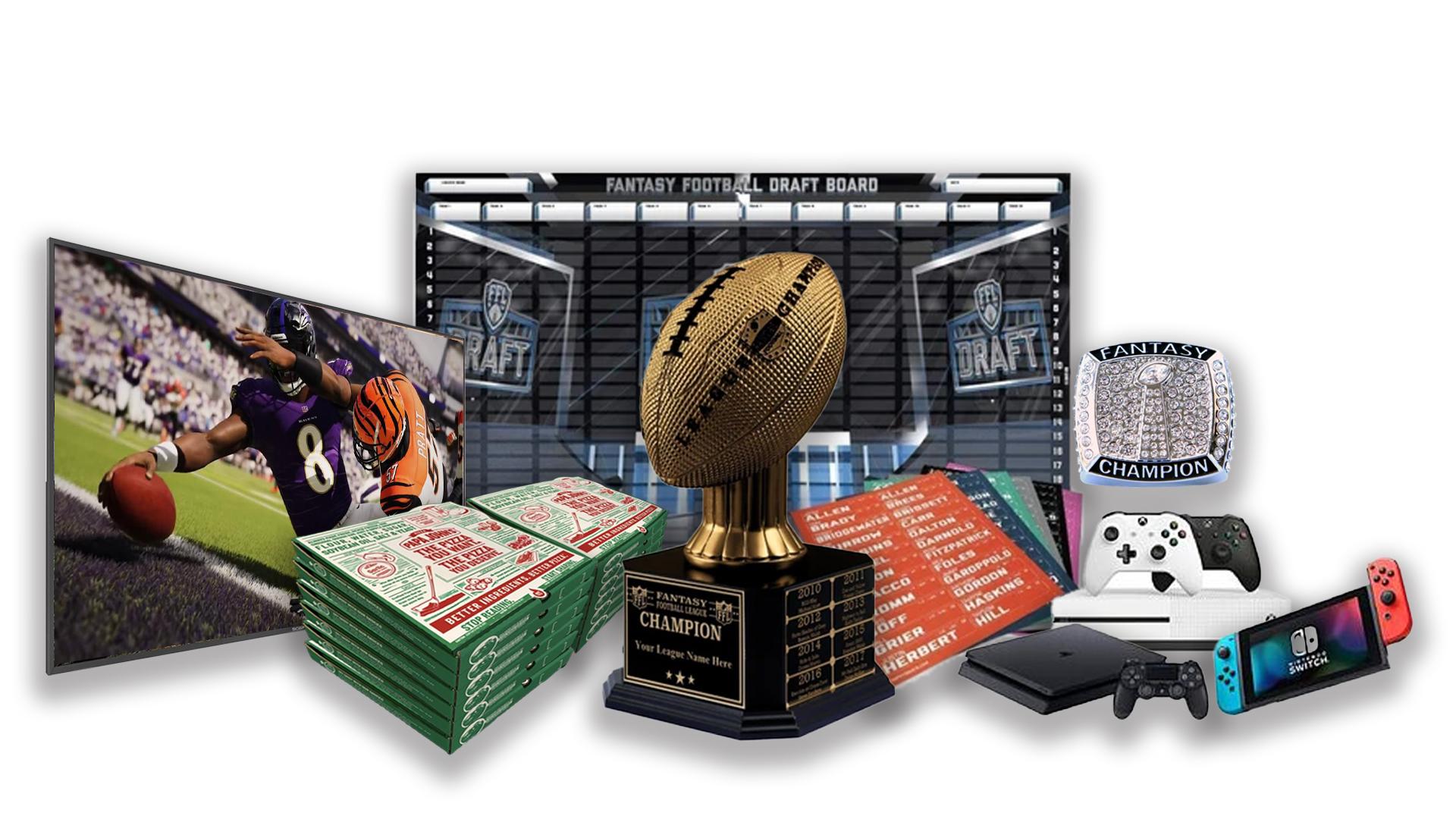 - FFDraft Trophy Gold Pizza2 - Fantasy Football Draft Parties at 1Life2Play