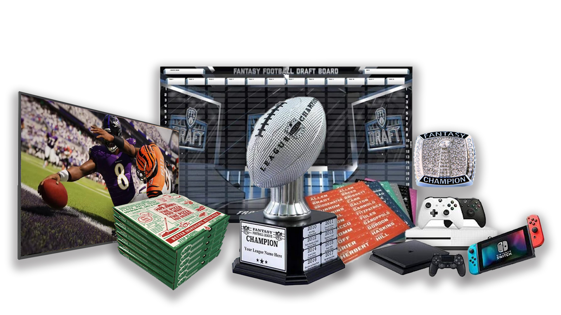 - FFDraft Trophy White Pizza - Fantasy Football Draft Parties at 1Life2Play