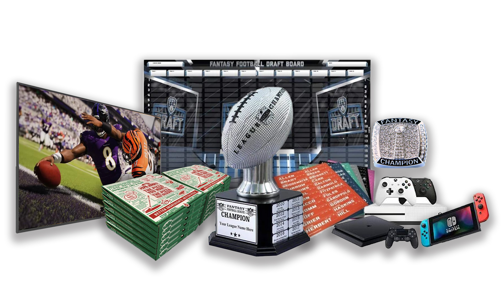 - FFDraft Trophy White Pizza2 - Fantasy Football Draft Parties at 1Life2Play