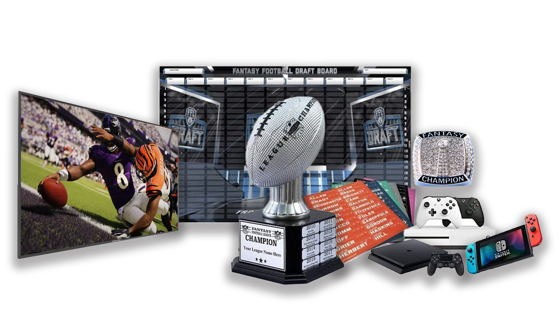 - FFDraft Trophy White1 - Fantasy Football Draft Parties at 1Life2Play