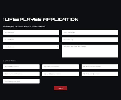 1Life2Play Esports Application 1life2play - Signup Image - 1Life2Play Esports Team Page – Join 1Life2Play